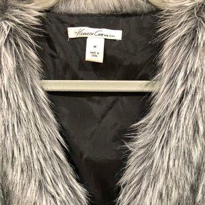 Grey shot faux fur vest